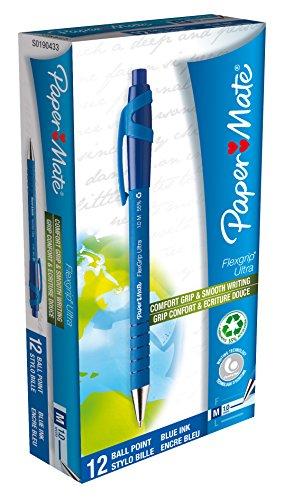 PaperMate Flexgrip - Bolígrafo retráctil de clip de color azul metálico con punta de 1 mm (12 unidades)