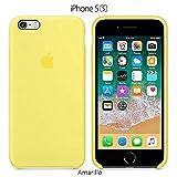 Funda Silicona para iPhone 5, 5s, SE Silicone Case, Logo Manzana, Textura Suave, Forro Microfibra (Amarillo)