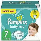 Pampers Couches Baby-Dry Taille 7 (+15kg) Jusqu'à 12h Bien Au Sec et Avec Barrière Anti-Fuites, 112 Couches (Pack 1 Mois)