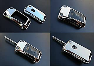 OriginalEuro Chrome Remote Flip Key Cover Case Skin Shell Cap Fob Protection Hull for Porsche