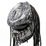 Predator Motorcycle Helmet - DOT Approved - Unisex - Silver Eon