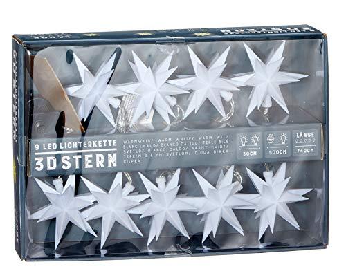 Stern Lichterkette mit 9 LED - Sternen Lichterkette für Innen & Außen - Lichterkette Strom betrieben mit 3D Sternen