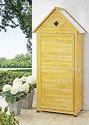 Platzsparender Gartenschrank aus Holz