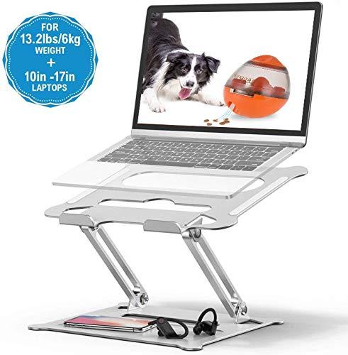 TOKMALI Laptop ständer, Aluminium Einstellbares Notebook ständer, Multi-Angle-Standfuß mit Heat-Vent, kompatibel für Laptop (10-17 Zoll), MacBook Pro/Air, Surface, Samsung, HP (Silber)