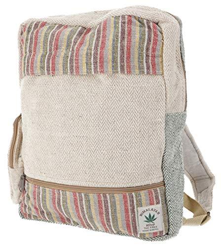 Guru-Shop Ethno Hanf Rucksack - Streifen Bunt, Herren/Damen, Beige, Size:One Size, 40x33x15 cm, Ausgefallene Stofftasche