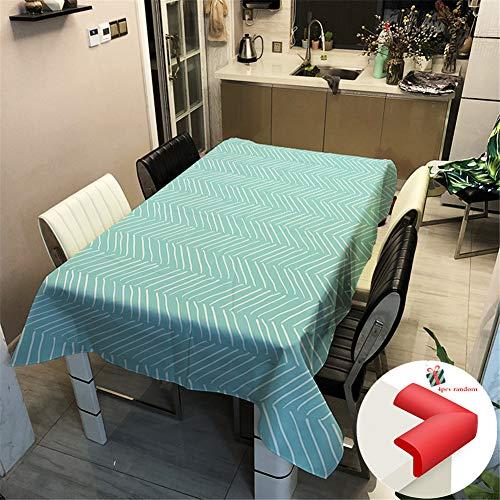 Fansu Manteles Antimanchas Teflon, Estilo Rectangular de Comedor Cocina Jardín y Bar Impermeable Lavable Decoración del Hogar (100x140cm,Azul)