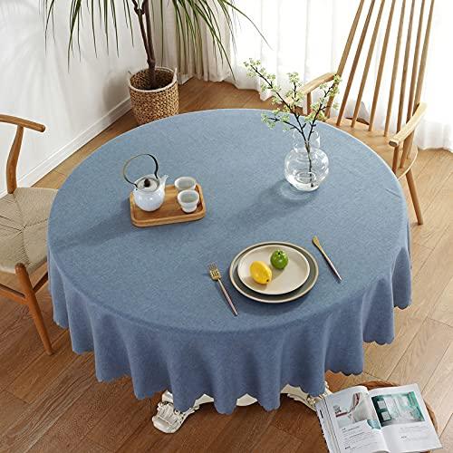 Mantel rectangular de lino de algodón, diseño geométrico, antiarrugas, antidecoloración, a prueba de polvo, lavable, para cocina, comedor, mesa, redondo, 160 cm