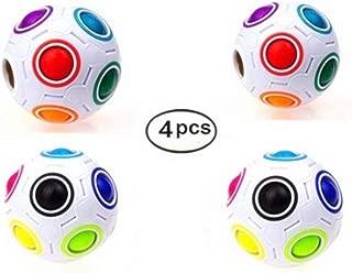CuberSpeed Bundle Rainbow Ball Magic Fidget Toy Puzzle Magic Rainbow Ball Puzzle Fun Fidget (4pcs)
