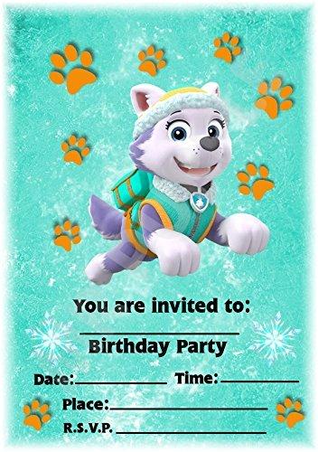 Paw Patrol Party Uitnodigingen - Everest Design - Feestbenodigdheden/Accessoires (Pak van 12 A5 Uitnodigingen) WITH Envelopes