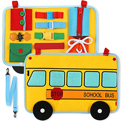 Busy Board, School Bus Style Activity Board(12 Basic Skill), for Fine Motor and Learn...