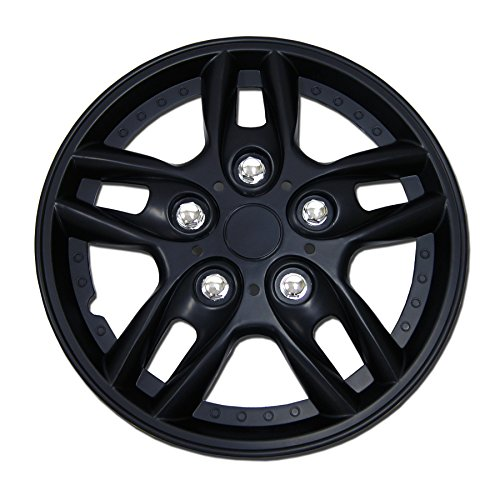 TuningPros WSC-515B15 Hubcaps Wheel Skin Cover 15-Inches Matte Black Set of 4