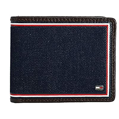 Tommy Hilfiger Mens Rfid Leather Bifold Passcase Wallet Brown