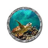Wandtattoo Wandaufkleber 3D Fenster Delphin Schildkröten