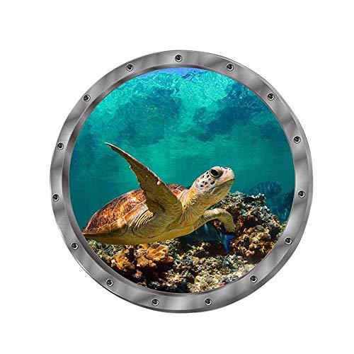 Wandtattoo Wandaufkleber 3D Fenster Delphin Schildkröten Unterwasserwelt Delfine Marine Wohnzimmer Schlafzimmer Kinderzimmer Deko (Schildkröten)
