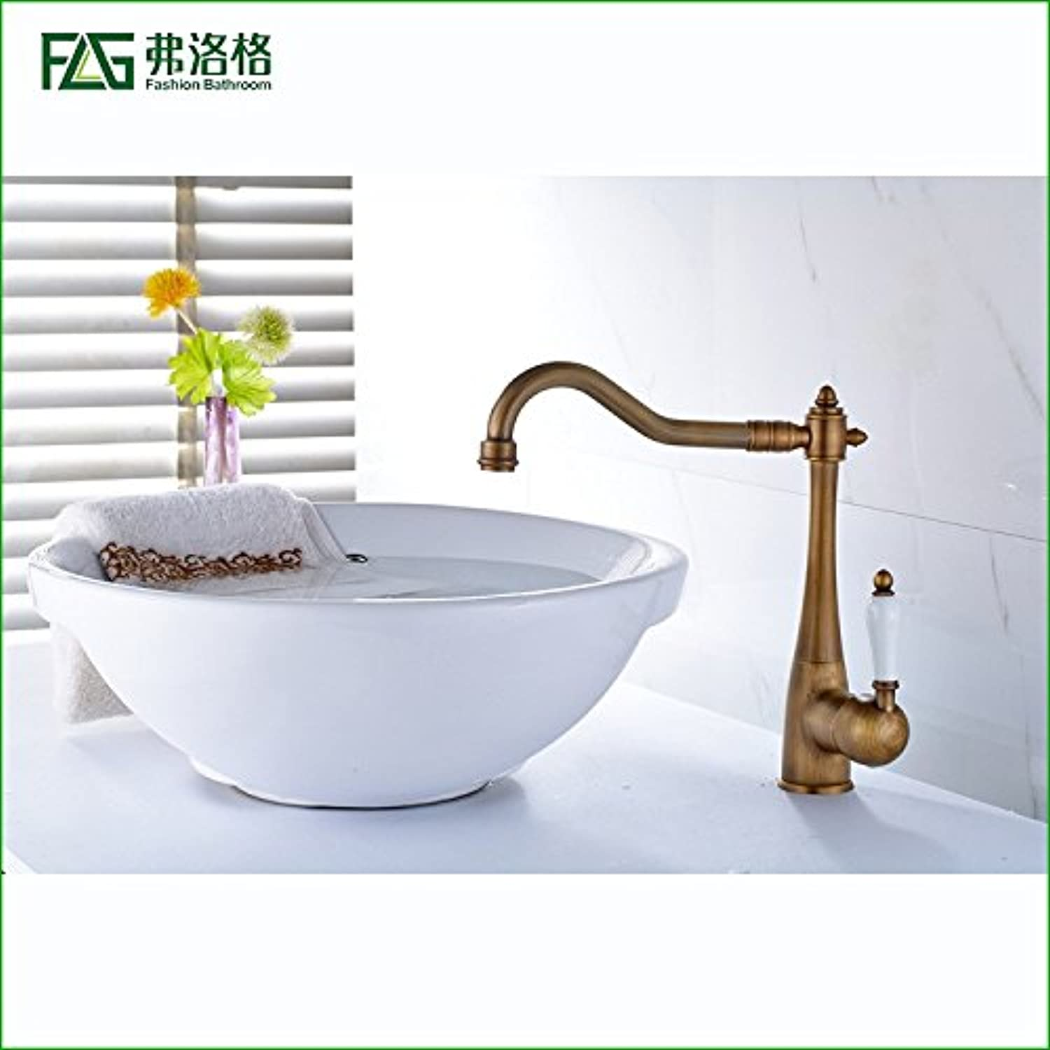 Hlluya Professional Sink Mixer Tap Kitchen Faucet The Antique copper single handle single hole cold-hot water tap basin sink mixer console