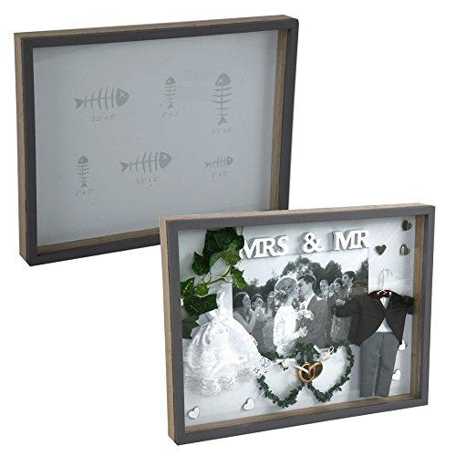 Annastore Fotorahmen DIY Do it Yourself, grau 42 x 32 cm mit Innenraum zum Selbstgestalten