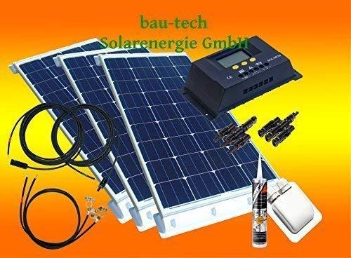 bau-tech Solarenergie 300 Watt Wohnmobil Camping Solaranlage, 12 Volt Set, PV Solarpanel Modul GmbH