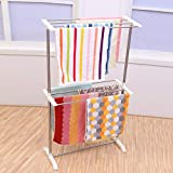 TOUARETAILS Stainless Steel Portable Double Layer Floor Clothes Drying Rack Dryer Hanger Nappies, Undergarments, Towels Rack, Mobile Towel Rack (White)