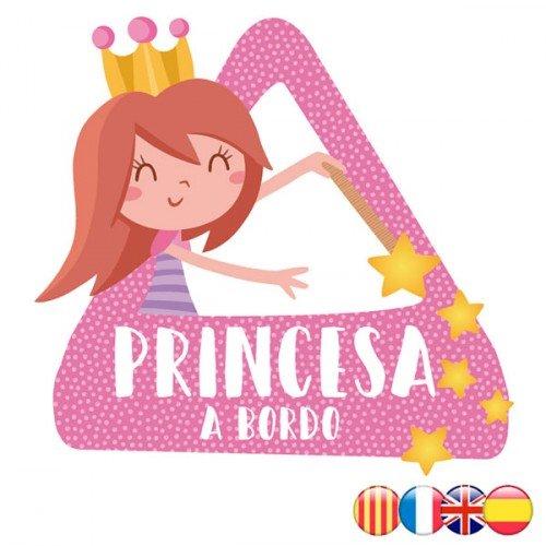Bebé a bordo - Princesa a bordo– riángulo adhesivo de Bebé a Bordo - Castellano