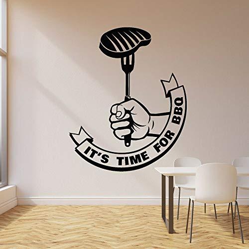 Es hora de la etiqueta de la pared de la barbacoa texto filete barbacoa comedor vinilo etiqueta de la ventana restaurante decoración interior creativa