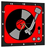 3dRose Retro Red and Black Record Player - Wall Clock, 15 by 15-Inch (DPP_38103_3)