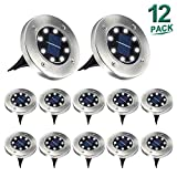 Aogist Solar Ground Lights,8 LED Solar Lights Outdoor Disk Lights Garden Lights Waterproof Patio Outdoor Light with Light Sensor for Lawn,Pathway,Yard,Driveway,Step and Walkway (White)