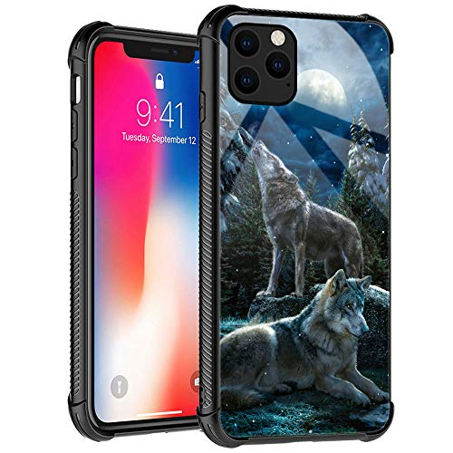 iPhone 12 Pro Max Case, Wolf Moon Night Pattern Design iPhone 12 Pro Max Cases for Mans Women, Shockproof Anti-Scratch Case for Apple iPhone 12 Pro Max