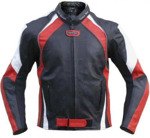 German Wear Lederjacke Motorradjacke Rindsleder Kombijacke, 60/4XL, Rot