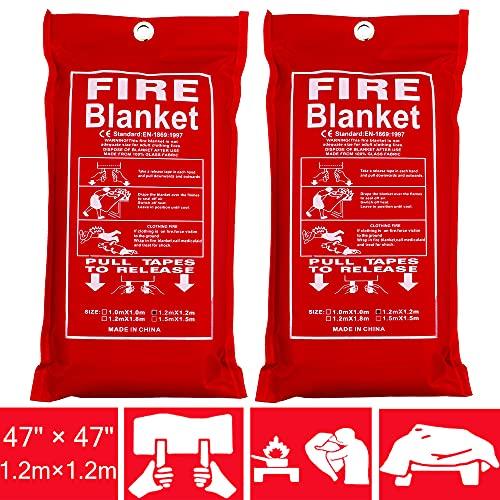 Premium Fire Blanket Emergency [47.2'x 47.2' ,2 Pack]Fire Retardant Blanket|Fiberglass Fire Blankets...