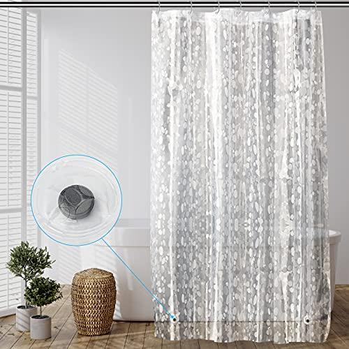 SPARIN Cortina de Ducha Transparente 100x180cm, Antimoho, Cortina de Ducha EVA Impermeable y antibacteriana, con 2 imanes de Peso en la Parte Inferior y 7 Ganchos