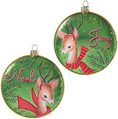 "Set of 2 Raz 4"" Reindeer Disc Glass Christmas Ornament 3952866"