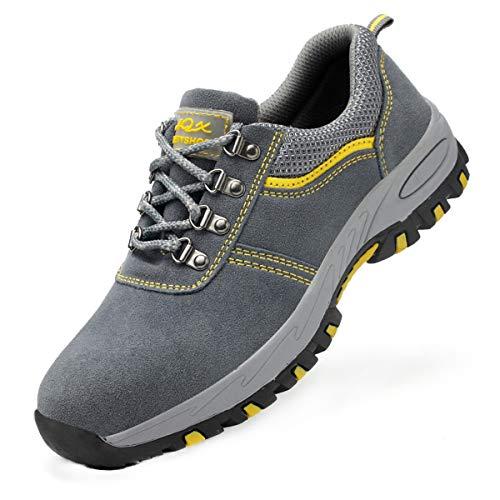 DoGeek Zapato Seguridad Calzado Seguridad Hombre con Punta de Acero, Antideslizante Transpirables, Unisex, Gris, 45