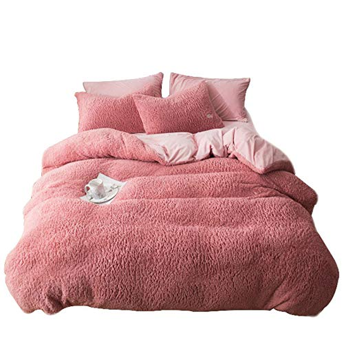 YILILI Microfiber Duvet Cover Quilt Bedding Set of 4 with Pillowcases, Single Double Home Soft Bedding Quilt Case, Easy Care And Super Soft Cotton Reversible Design
