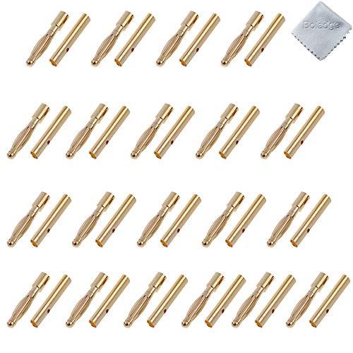 Boladge 20 Paar Vergoldete 2.0mm 2mm Bullet Männlich Buchse Bananenstecker Rundstecker für ESC Motor Lipo Batterie