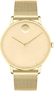 Movado FACE, Gold Stainless Steel Case, Pale Yellow Gold-Toned Dial, Mesh Bracelet, Men, 3640007