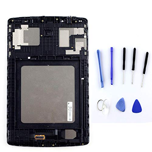XQ for LG G pad F 8.0 V496 V495 UK495 LCD Display Touch Screen Digitizer Assembly + Frame Full Replacement Part Black +Tools (Black with Frame)