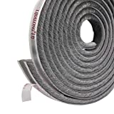 Fowong Self-Adhesive Door Window Frame Brush Seal Weatherstrip 4.9 m(L) x9 mm(W) x 9mm(T) Draft-Air Stopper High-Density Felt-Draft Air Eccentric for Sliding Doors Window and Wardrobe - Grey
