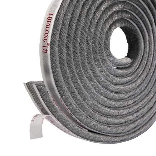 fowong Burlete Adhesivo con Cepillo, Sellado de cepillo Burlete 4,9 m (L) x9 mm (W) x 9 mm (T), A prueba de polvo, Burlete con Cepillo Junta para Armarios Cajones Puertas Correderas - GRIS