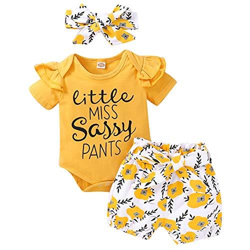 Geagodelia 3tlg Babykleidung Set Baby Mädchen Kleidung Outfit Body Strampler + Hose/Shorts Neugeborene Weiche Babyset Little Miss Sassy Pants (0-3 Monate, Gelb 999 - Kurzarm)