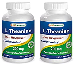 Best Naturals L-Theanine 200 mg 60 Vcaps featuring clinically proven suntheanine (Pack of 2)