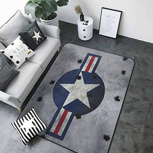 Washable Kitchen Area Rug Airplane,Star on Round Circle with Stripes with Grunge Effect Backdrop Aircraft, Red Grey Blue White 48