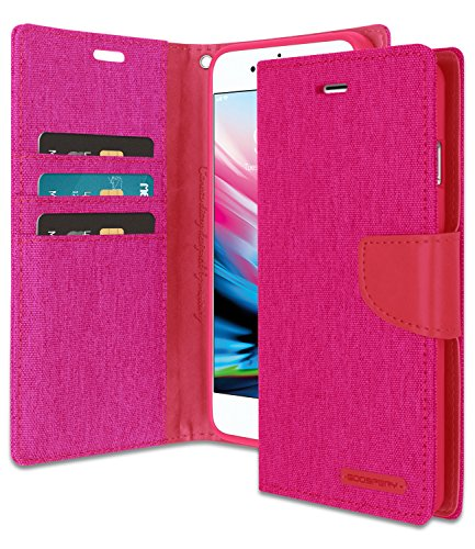 Goospery Canvas Wallet for Apple iPhone 8 Plus Case (2017) iPhone 7 Plus Case (2016) Denim Stand Flip Cover with 6 Gifts (Pink) IP8P-CAN/GF-PNK
