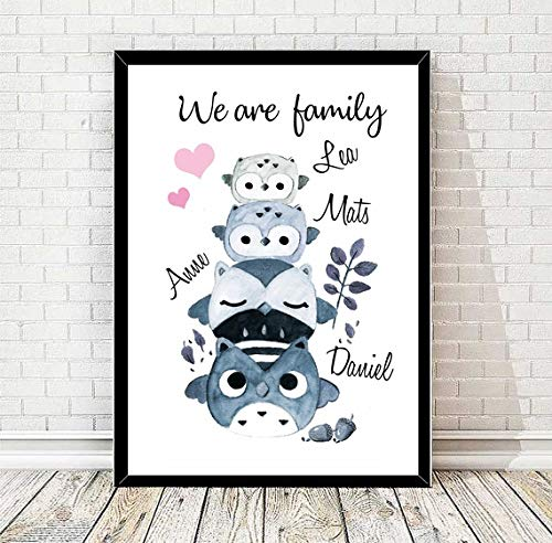 """Tiny Tami Kunstdruck ★""""Eulenfamilie mit 2 Kindern""""★ Namensschild ★Kinderposter ★ Geburt★ Taufe ★Eule ★ Liebe ★ Familie ★100% Handmade"""