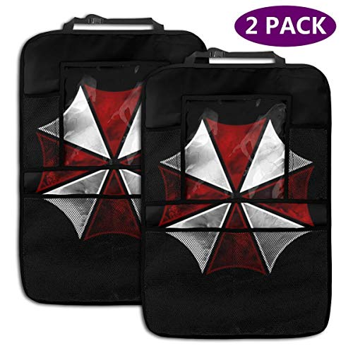 Light Rain Resident Evil Car Backseat Organizer Universal Cars Seat Back Protectors Kick Mat Can Be Stored 10 Inch Tablet Holder for Kids Toddlers Toy Bottle Drinks(2 Pack)