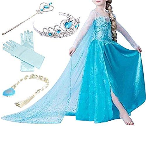Yigoo ELSA Kleid Eiskönigin Prinzessin Kostüm Kinder Glanz Kleid Mädchen Weihnachten Verkleidung Karneval Party Halloween Fest mit Krone 100