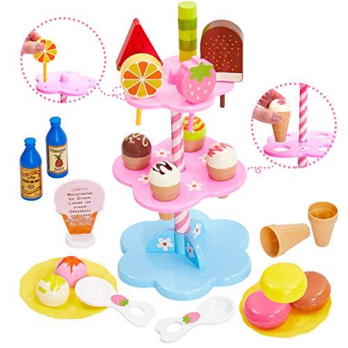 Buyger 22pcs Helados Juguetes de Cocina Comida Alimentos de Juguetes Educativo Bricolaje Regalo Juego para Niñas 3 4 5 Años (Rosa)