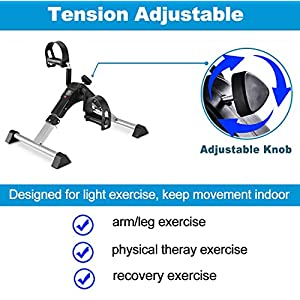 Pedal Exerciser Leg and Arm Exercise Bike with LCD Monitor Foldable (black/blue)