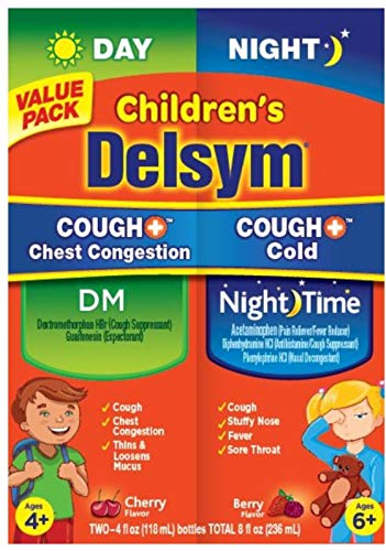 Delsym Childrens Cough + Chest Congestion Day & Night Cold Liquid, Cherry & Berry, 8 oz