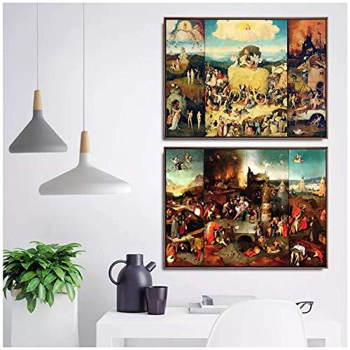 XuFan Hieronymus Bosch Art Wall Pictures Fro Living Room Poster Print Lienzo Pinturas Netherlandish Home Decoration-20X28 2Pcs Pulgadas Sin Marco