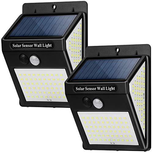 Luz Solar Exterior Jardín 144 LED Luces Solares LED con Sensor de Movimiento, 3 Modos Focos Solares Exterior 270º lluminación Lamparas Solar Impermeable IP65 Aplique para Exterior Jardin (2 pack)